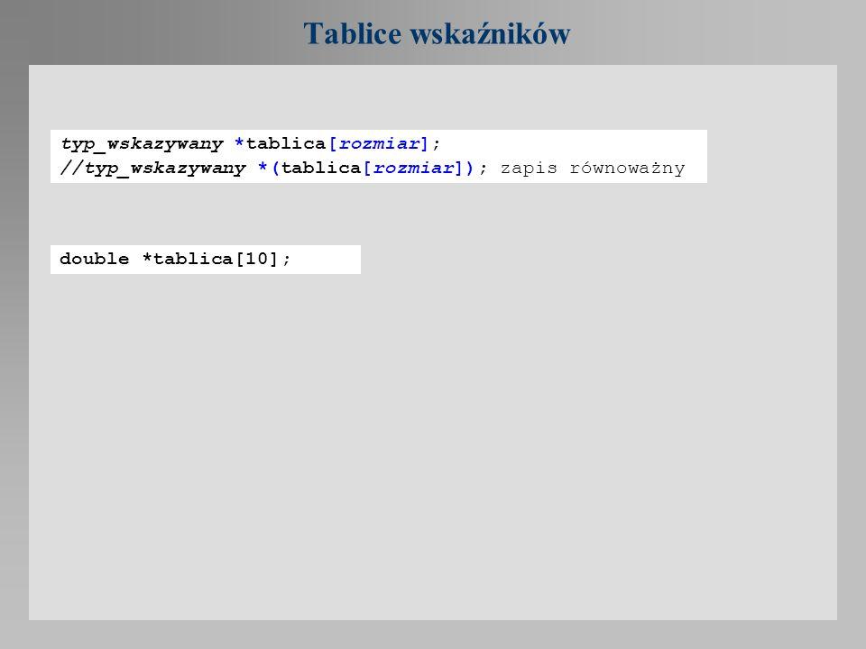 Tablice wskaźników typ_wskazywany *tablica[rozmiar];